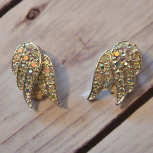 vintage Sarah Coventry ab rhinestone wing earrings